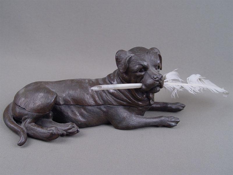 Чернильница «Собака», металл, начало XXвека, l=22см