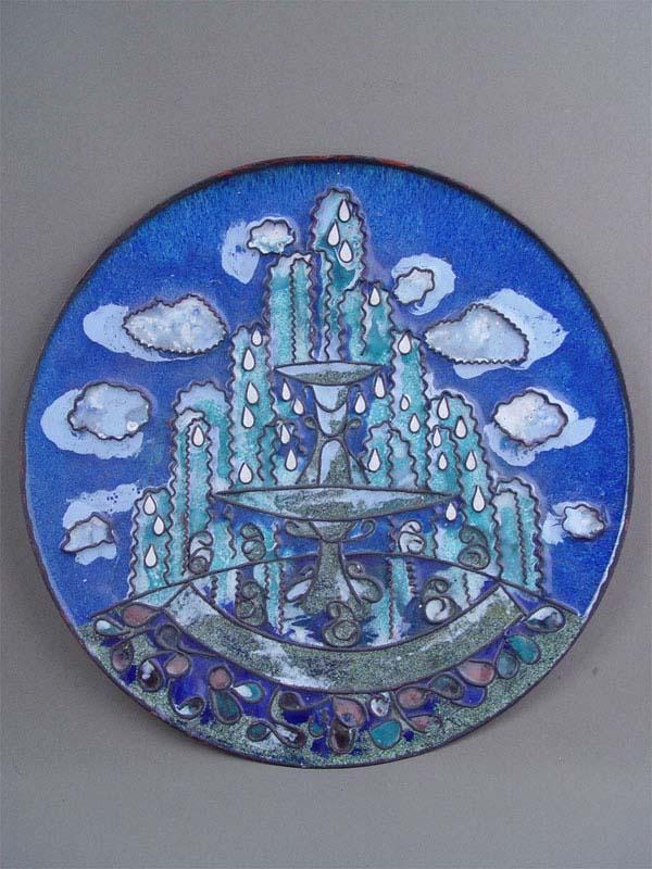 Блюдо декоративное «Фонтан», медь, эмаль, диаметр— 39см, 1960—70-е гг.