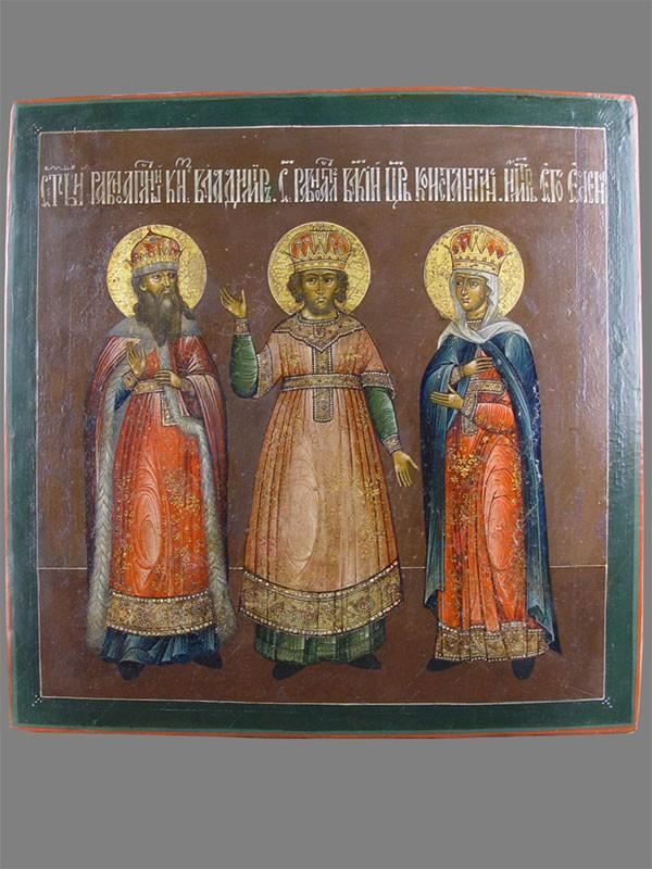Икона вкиоте «Святой Владимир, Святые Константин иЕлена», дерево, левкас, темпера, размер иконы: 39,5×38,5см