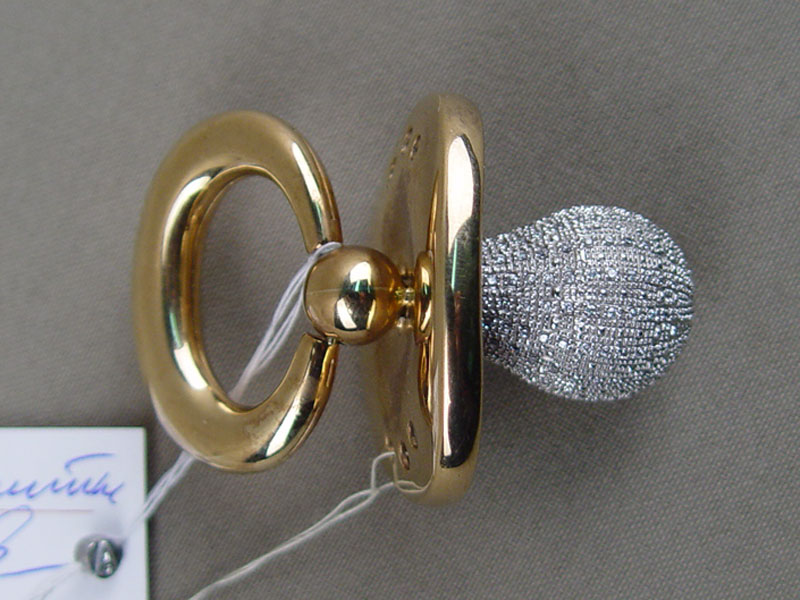 Подвеска «Соска», золото 375пробы, общий вес— 32,1г, фианиты