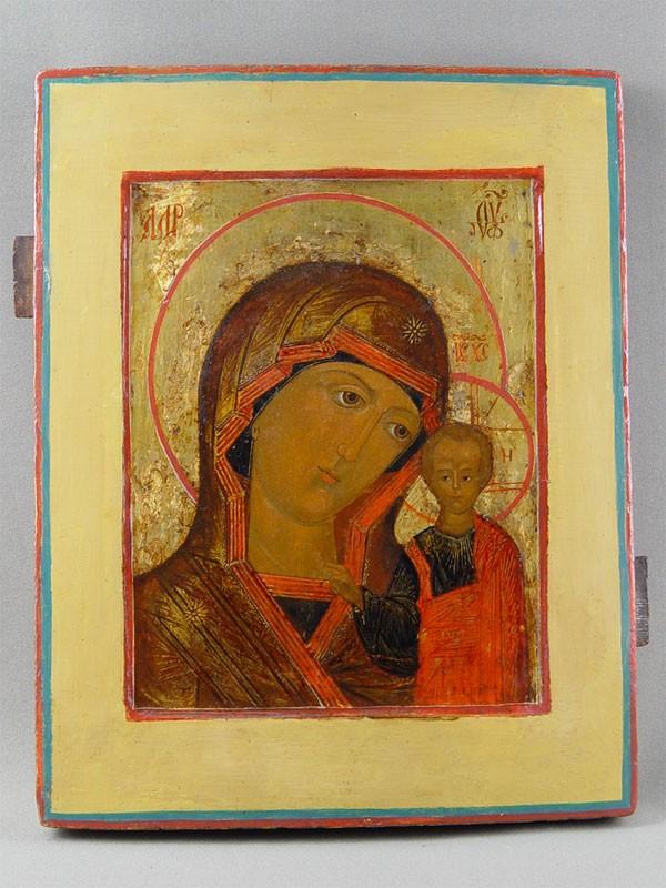 «Пресвятая Богородица Казанская», дерево, левкас, темпера, XIXв., 34×26,5см