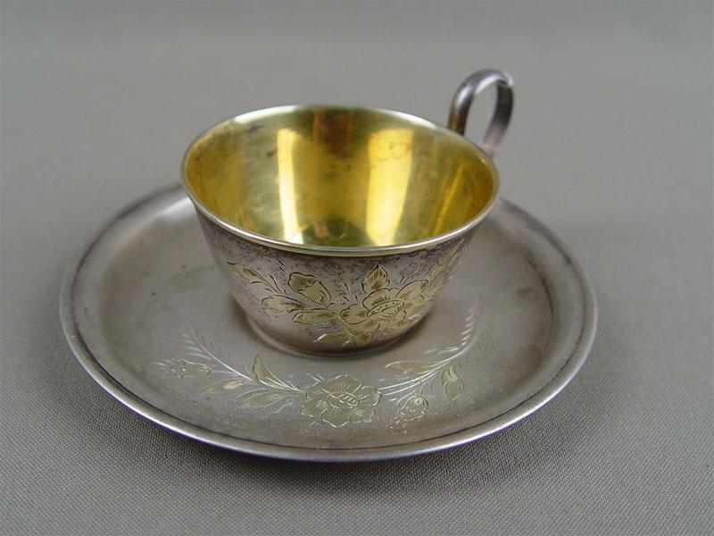 Кофейная пара, серебро 875пробы, позолота, общий вес— 97г