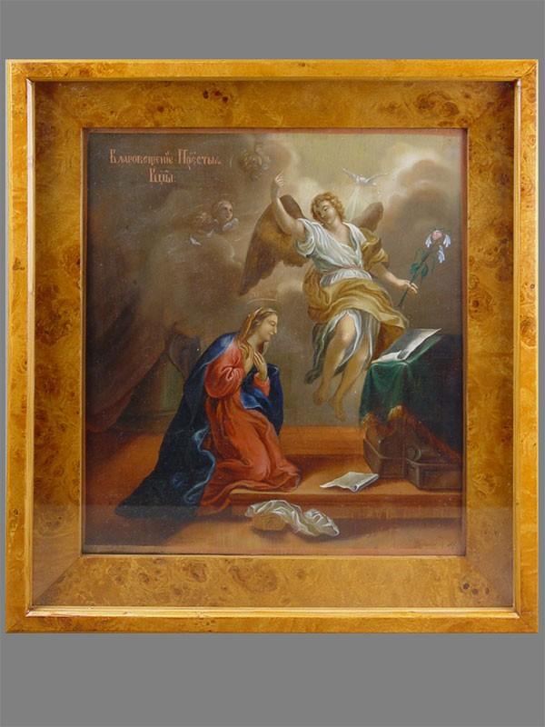 Икона вкиоте «Благовещение Пресвятой Богородицы», дерево, масло, подпись автора, размер иконы: 35×31см