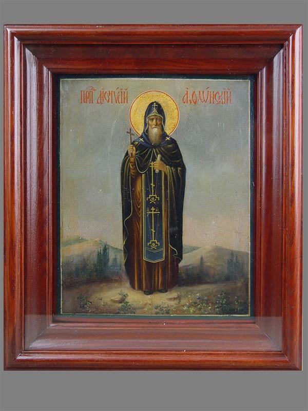 Икона «Святой Дионисий Афонский», дерево, масло, XIXв., 27×22см; киот