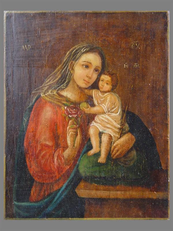 «Пресвятая Богородица Неувядаемый Цвет», дерево, масло, XIXв., 26,5×21см