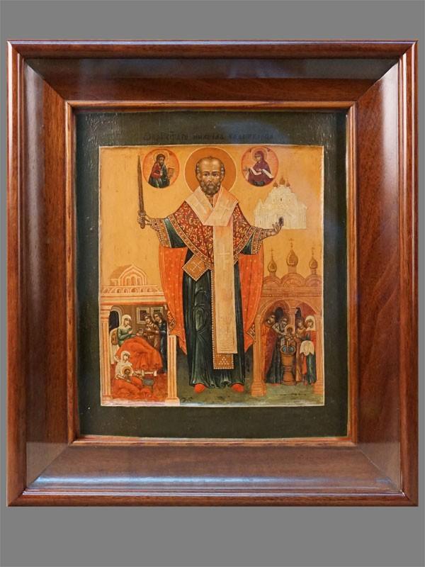 Икона вкиоте «Святой Николай Можайский сжитием», дерево, левкас, темпера. XVIIIвек, размер: 31×26см. Имеется реставрация.