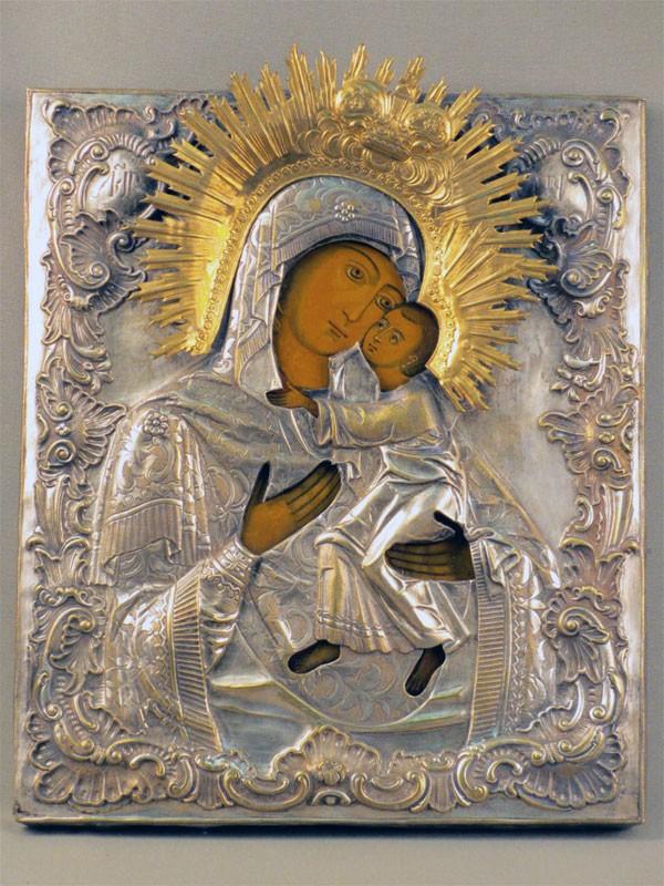 Икона «Пресвятая Богородица Толгская», дерево, левкас, темпера, оклад латунь, XIXв., 31×26см