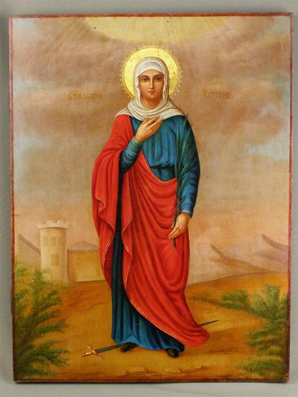 Икона «Святая Татьяна», дерево, масло, XIXвек, размер: 52×40см