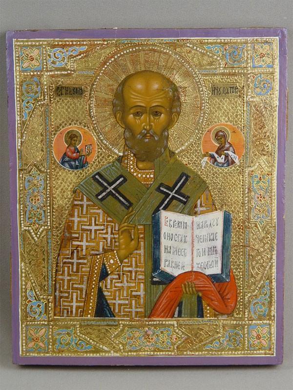 «Святой Николай Чудотворец», дерево, левкас, темпера, позолота, 27×22см, XIXв.