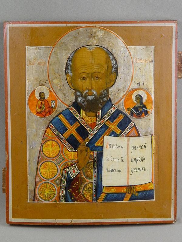 Икона «Святой Николай Чудотворец», дерево, левкас, темпера, 31,5×27см, XIXв.