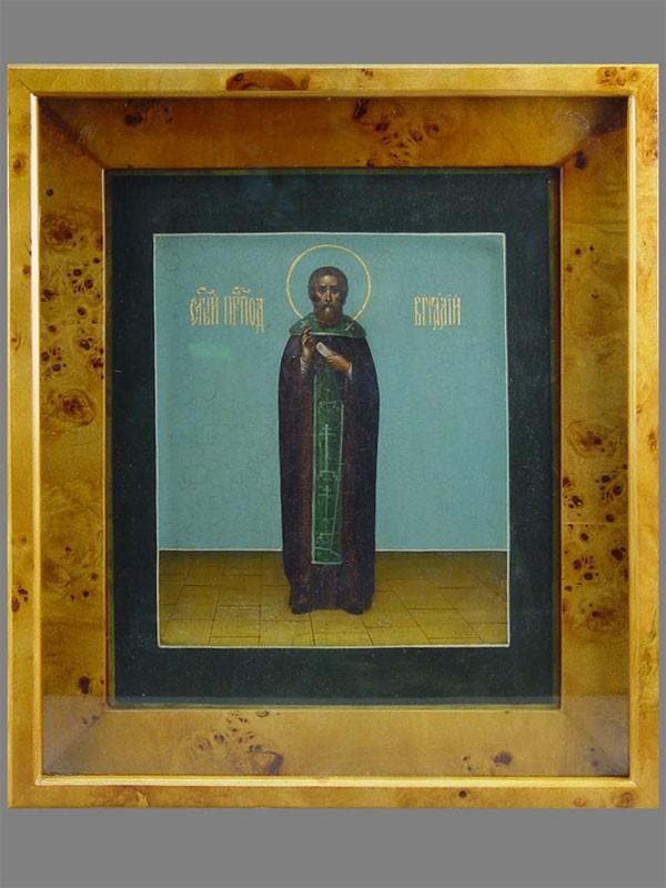 «Святой Преподобный Виталий», дерево, левкас, темпера, XIXв., 31×26см; киот