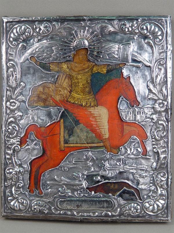Икона «Святой Архангел Михаил», дерево, левкас, темпера; оклад— серебро 84пробы, 31,5×27см
