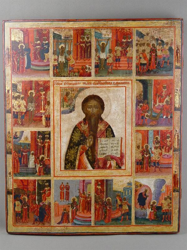 Икона «Святой Харлампий сжитием», дерево, левкас, темпера. XIXвек, размер: 53×44,5см