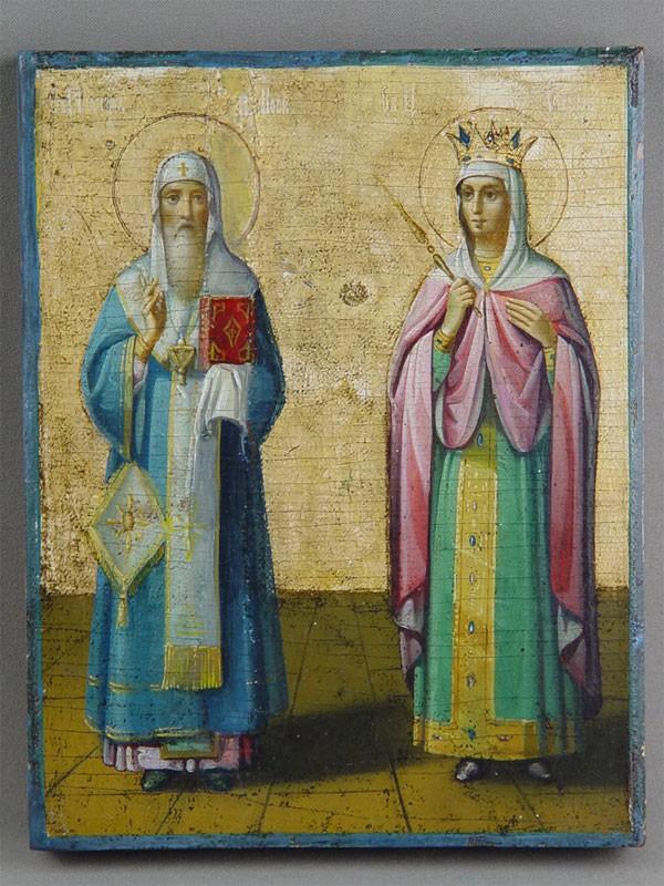 Икона «Святой Петр и святая Елена», дерево, масло. Афон, XIXв., 22,5×17,5см