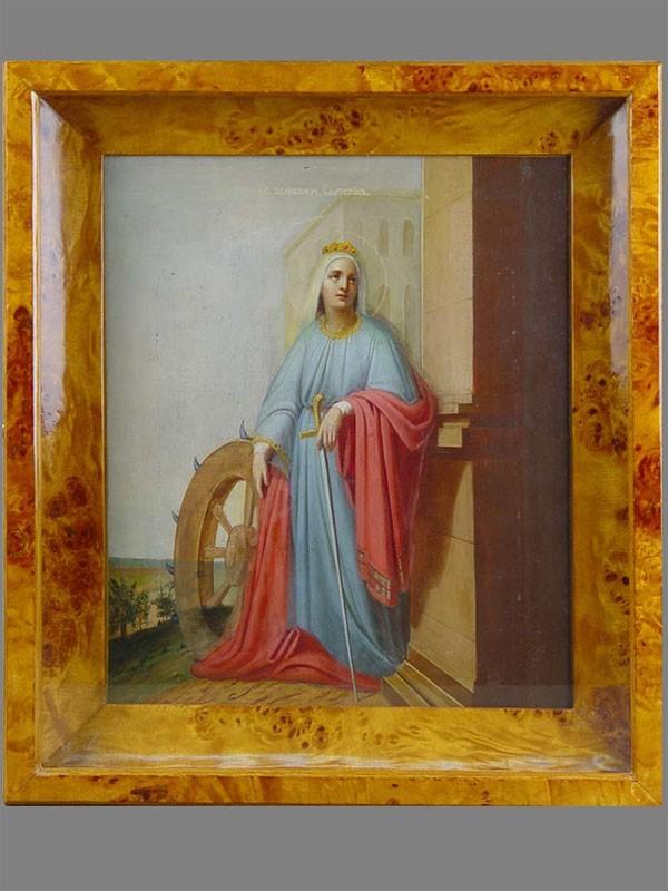 Икона вкиоте «Святая великомученица Екатерина», дерево, масло. XIXвек, размер иконы: 31×26,5см