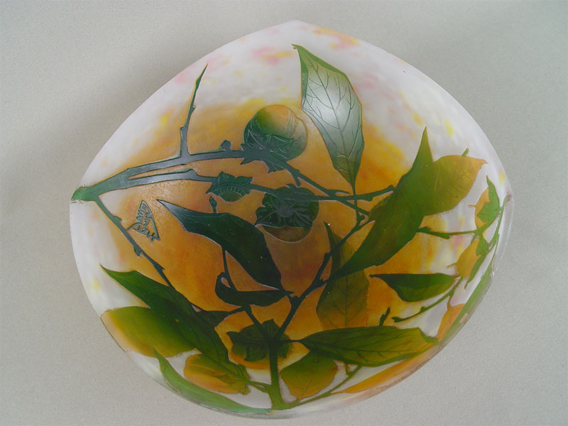Ваза-сухарница «Daum-Nancy», многослойное стекло, диаметр— 28см