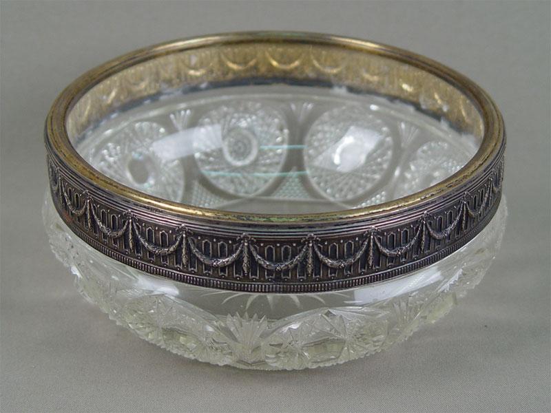 Ваза-конфетница, хрусталь, серебро 84пробы, диаметр— 18см