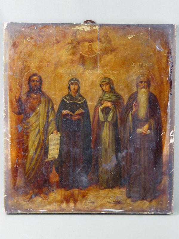 «Святой Иоанн Креститель, Святой Преподобный Иоанн, Святые Ксения иПараскева», дерево, масло, 40×36см