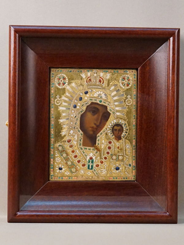 «Пресвятая Богородица Казанская», дерево, левкас, темпера, 18×13см; киот, конец 19— начало 20вв.