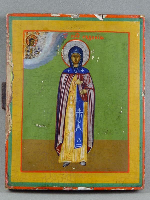 «Святая Преподобная Евдокия», дерево, левкас, темпера, 22×17,5см