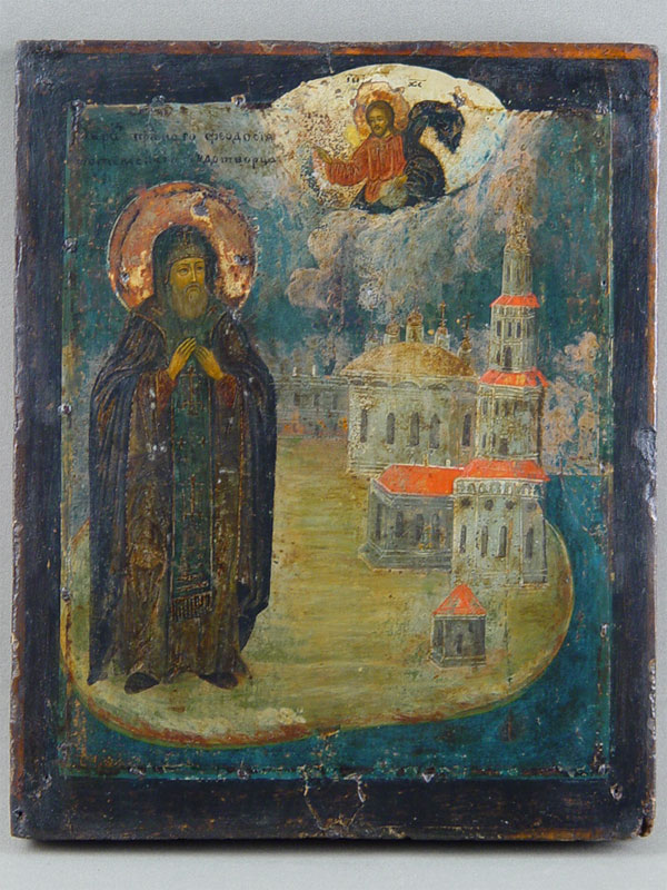 Икона «Святой Преподобный Феодосий Тотемский», дерево, левкас, темпера, 29×23,5см