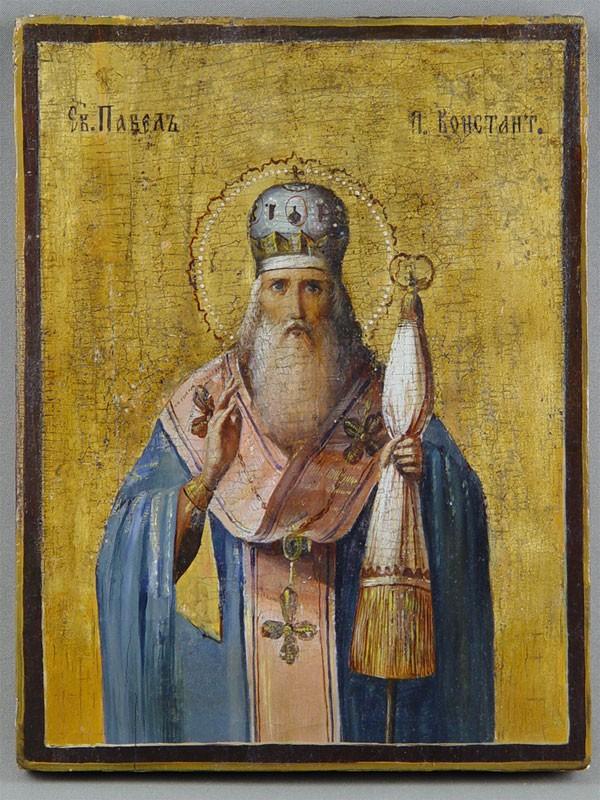 «Святой Павел Патриарх Константинопольский», дерево, масло, 29×22см, XIXв.