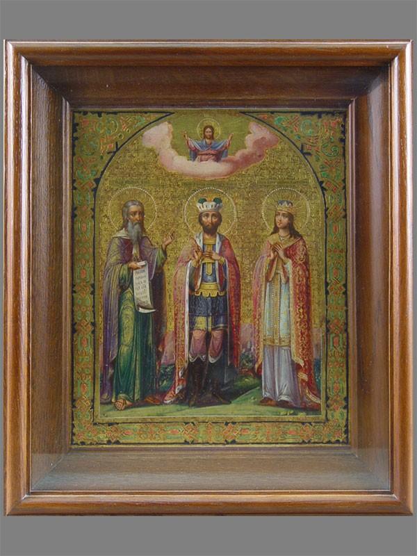 Икона «Святой Александр Невский, Святой Илия, Святая Екатерина», дерево, левкас, темпера. XIXвек, размер: 27×22см