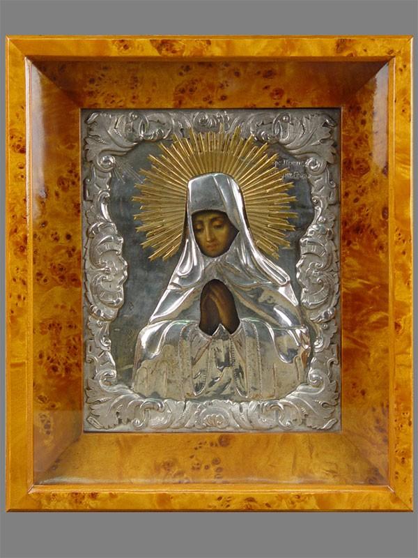Икона вкиоте «Святая Мария Египетская», дерево, масло, оклад латунь, посеребрение, XIXв., 25×20см