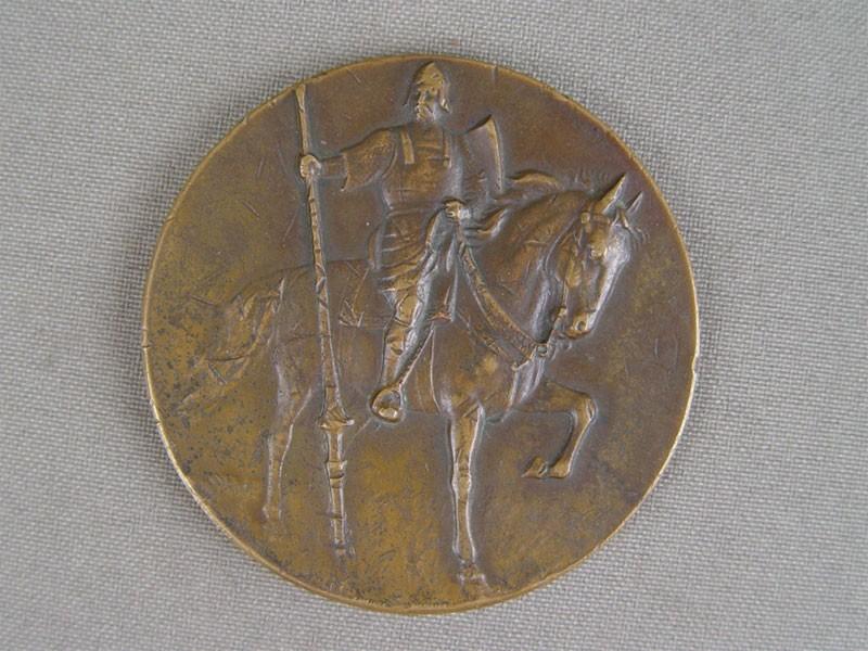 Антиквариат. антикварная медаль, всадник, конь, лошадь, наездник, настольная