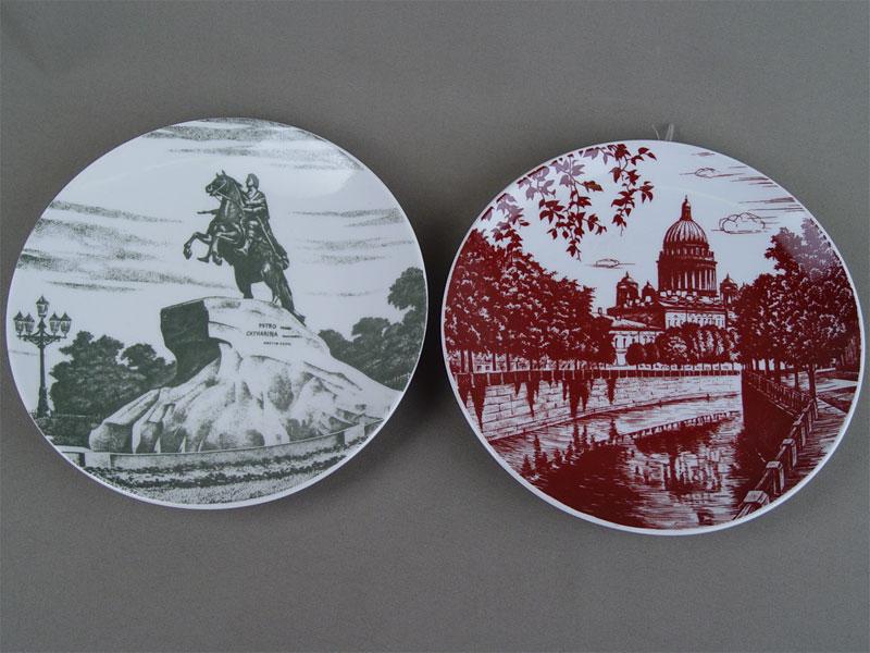 Антиквариат. Две тарелки «С.-Петербург», фарфор, деколь. ЛФЗ