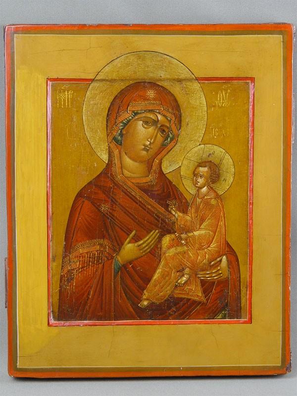 «Пресвятая Богородица Тихвинская», дерево, левкас, темпера. Палех, XIXв., 33×26см