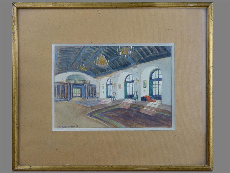 М.Добужинский(?), «Интерьер зала», бумага, акварель, 17×23см