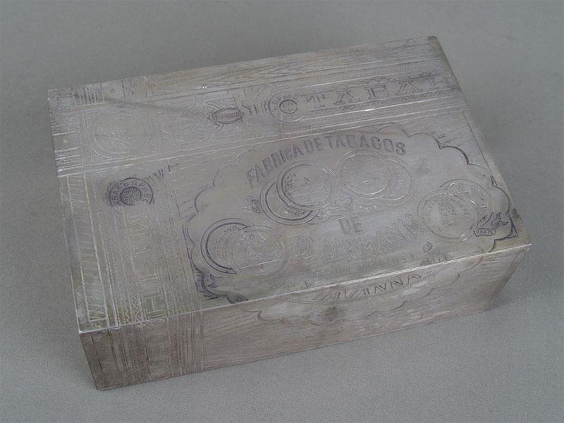 Шкатулка длясигар, серебро 84пробы, гравировка, 1885г, общий вес— 588г, 18×12×6см