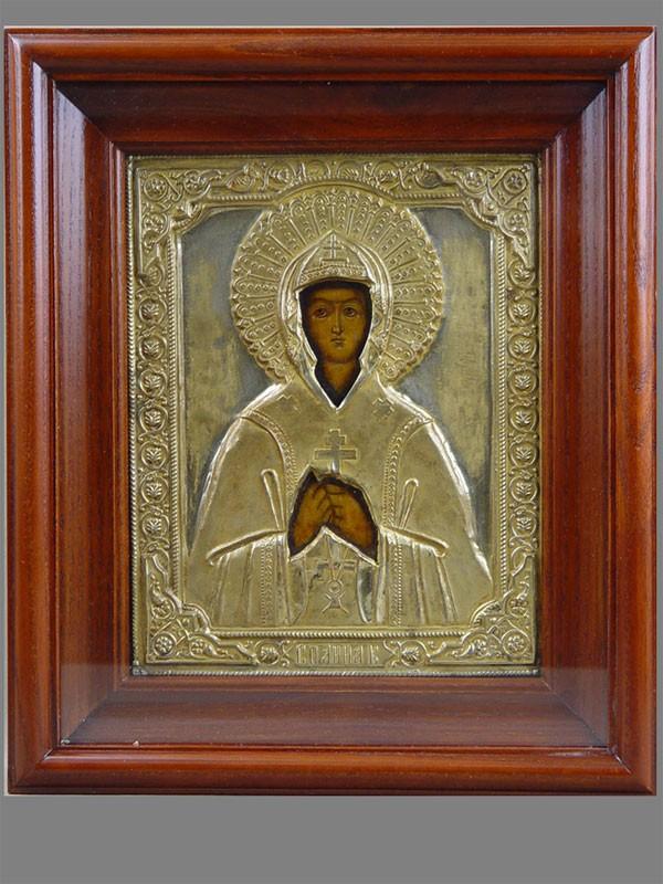 Икона вкиоте «Святая Анна Кашинская», дерево, левкас, темпера, оклад латунь, начало XX века, 22×18см