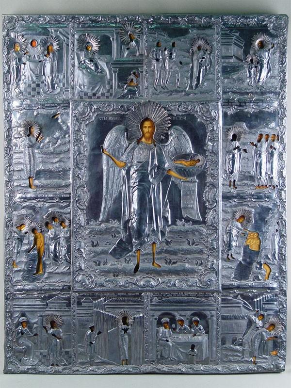 Икона «Святой Иоанн Предтеча сжитием», дерево, темпера, масло, оклад— серебро 84пробы, XIXвек, размер: 77×60,5см