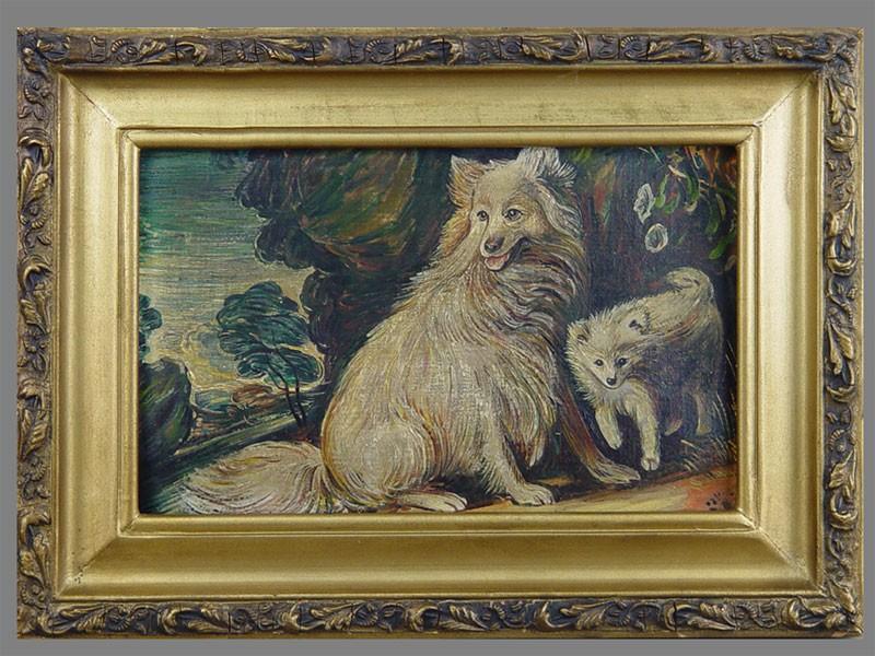 Неизвестный художник, «Собаки», холст накартоне, масло, 25×18см