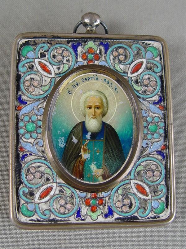 Икона «Святой Преподобный Сергий Радонежский», перламутр, серебро 84пробы, эмаль, 6,5×5,5см