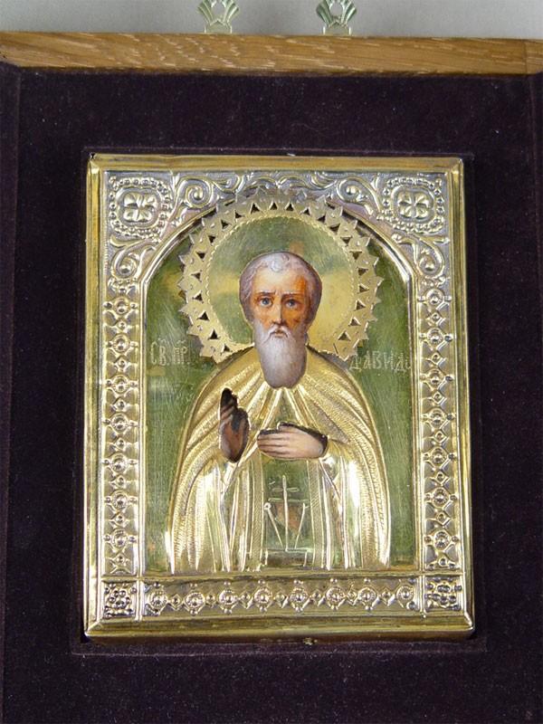 Икона в киоте «Святой Преподобный Давид», дерево, масло, оклад— серебро 84пробы, золочение, 11,5×9см