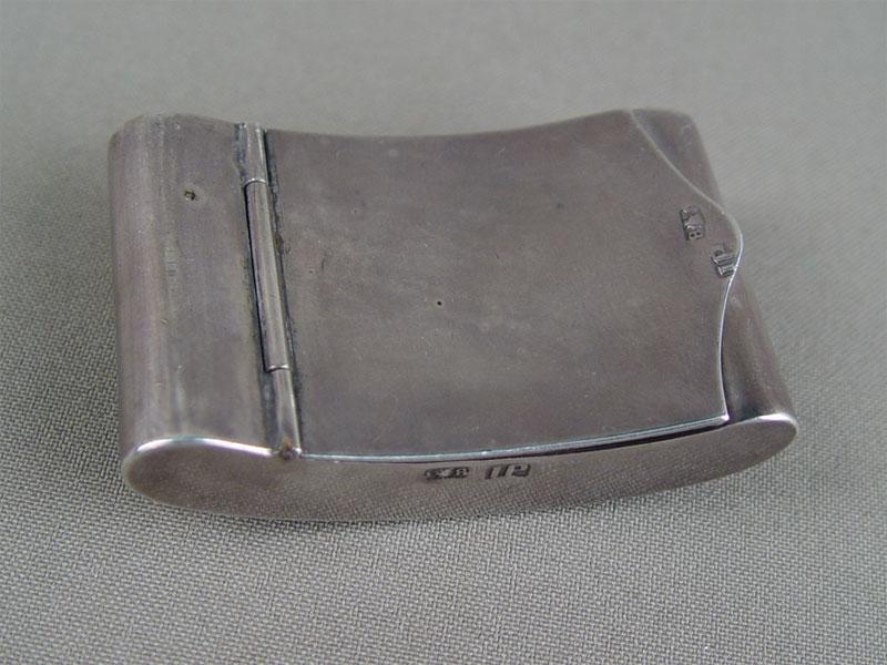 Табакерка, серебро 84пробы, общий вес— 49,1г, 6×3,5см