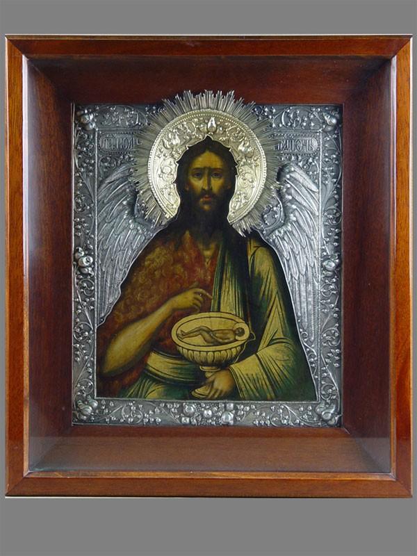 Икона «Святой Иоанн Предтеча», дерево, левкас, темпера; оклад серебро 84пробы, 1760г., Оружейная Палата (?), 32×27см; киот