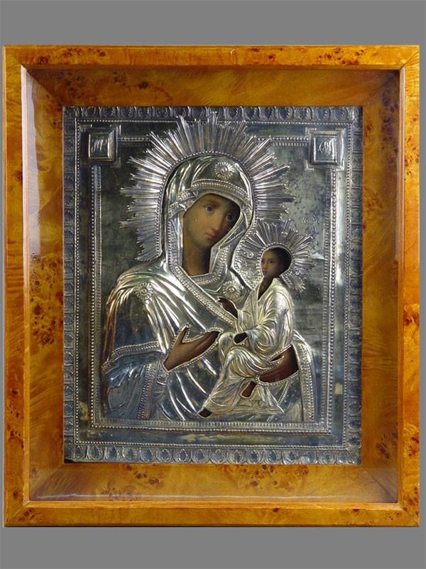 Икона вкиоте «Пресвятая Богородица Тихвинская», дерево, масло, оклад— серебро 84пробы, XIXвек, размер: 31,5×27см