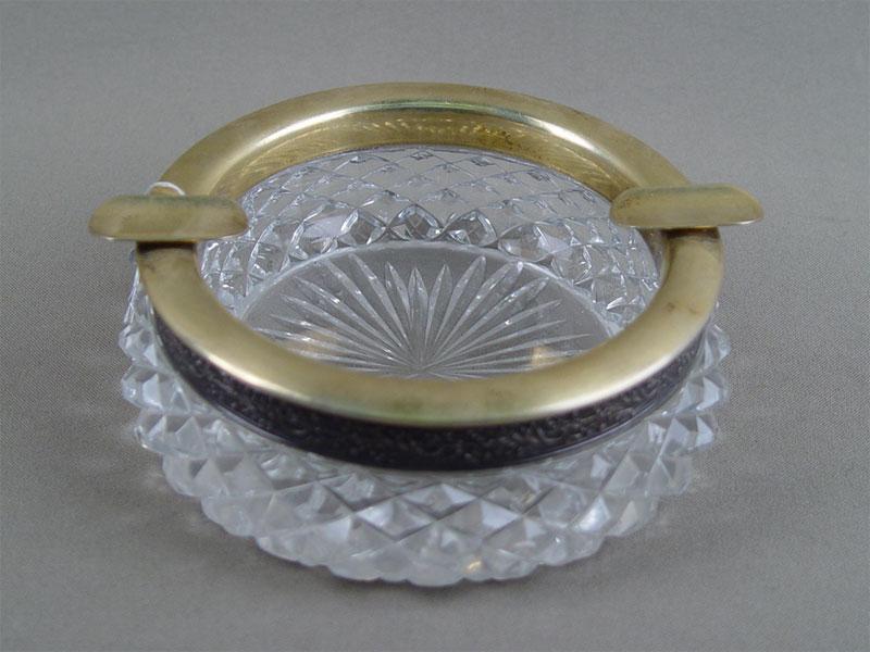Пепельница, серебро 875пробы, позолота, хрусталь, диаметр— 12см