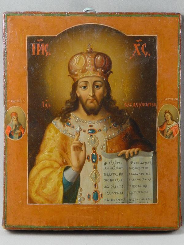 Икона «Господь Вседержитель. Царь Царем (Царь Царей)», дерево, масло, начало XIXвека, размер: 32×26см