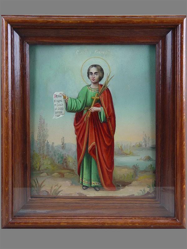 Икона «Святой Мученик Валерий», дерево, масло, XIXв., 27×22см; киот