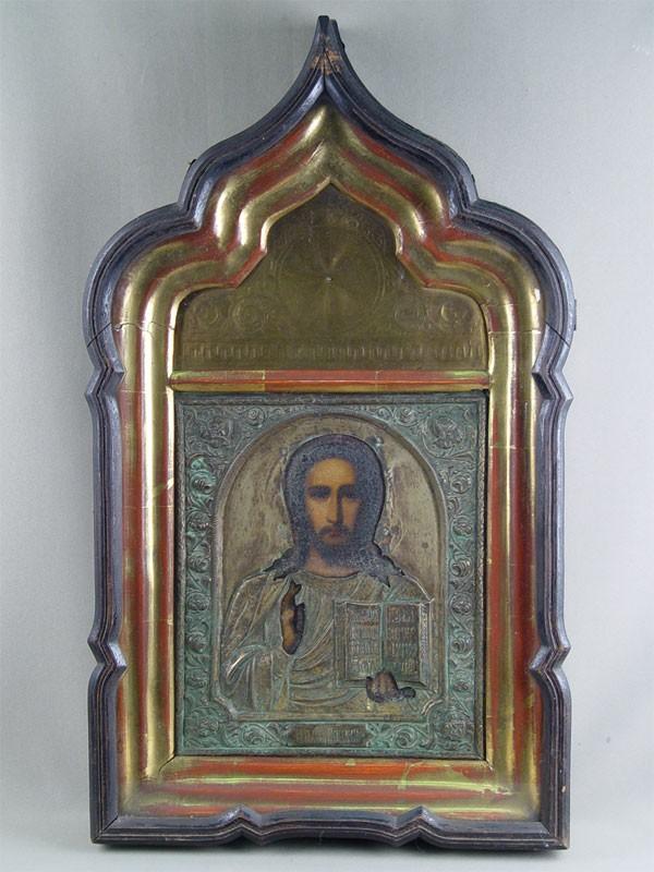 Икона вкиоте «Господь Вседержитель», дерево, левкас, темпера, оклад латунь, размер иконы: 30,5×26см