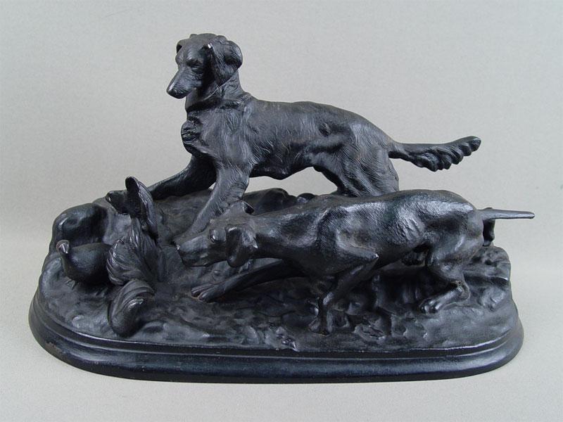 Скульптура «Собаки настойке», чугун, литье, покраска. Куса, 1961год, длина— 37см