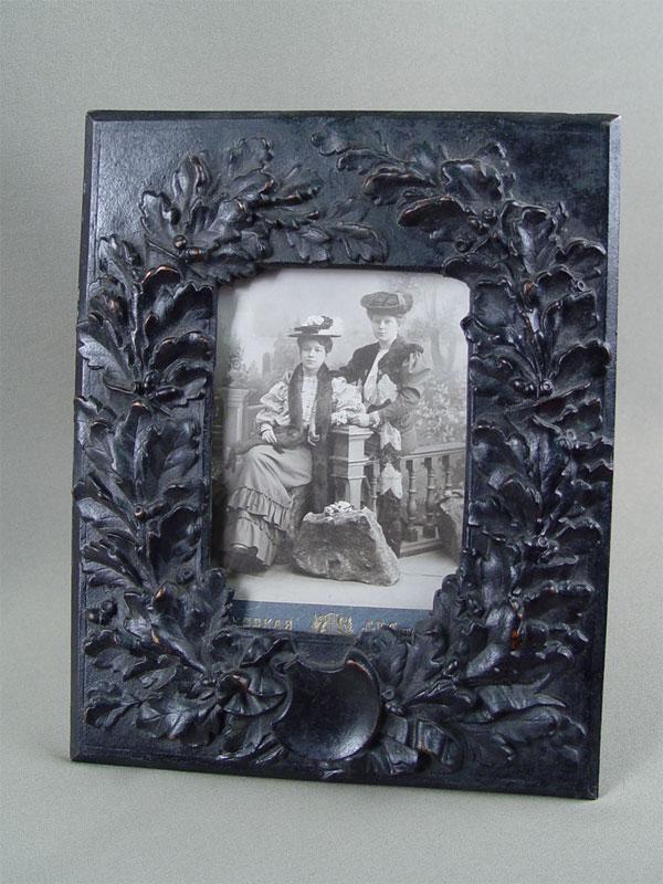 Антиквариат. Рама для фото «Дубовые листья», чугун, Куса