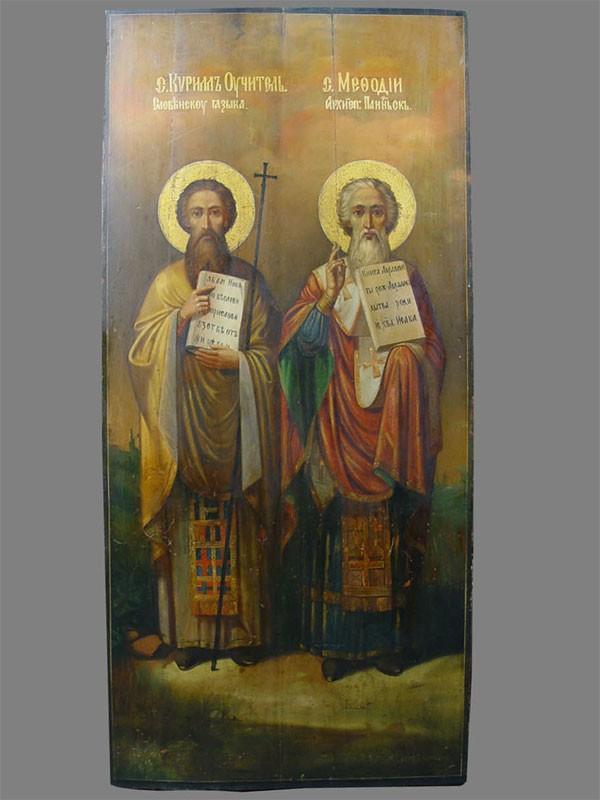 Икона «Святые Кирилл иМефодий», дерево, масло, темпера, XIXв., 110×50см