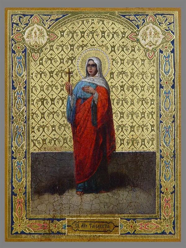«Святая Елизавета», дерево, масло, позолота, XIXв., 31×23см