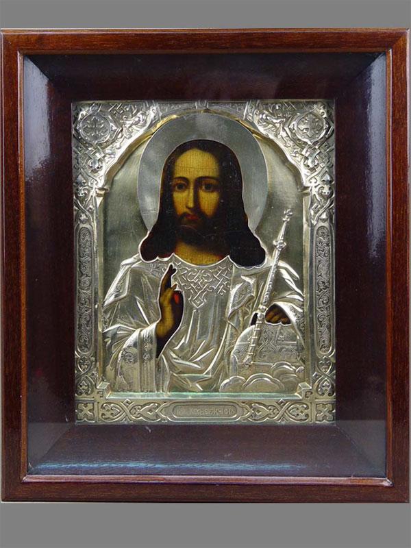 Икона вкиоте «Господь Вседержитель», дерево, масло, оклад— серебро 84пробы, золочение, XIXв., 27×22см